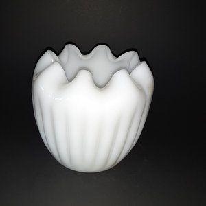 Vintage Milk Art Glass Rose Bowl Mid Century
